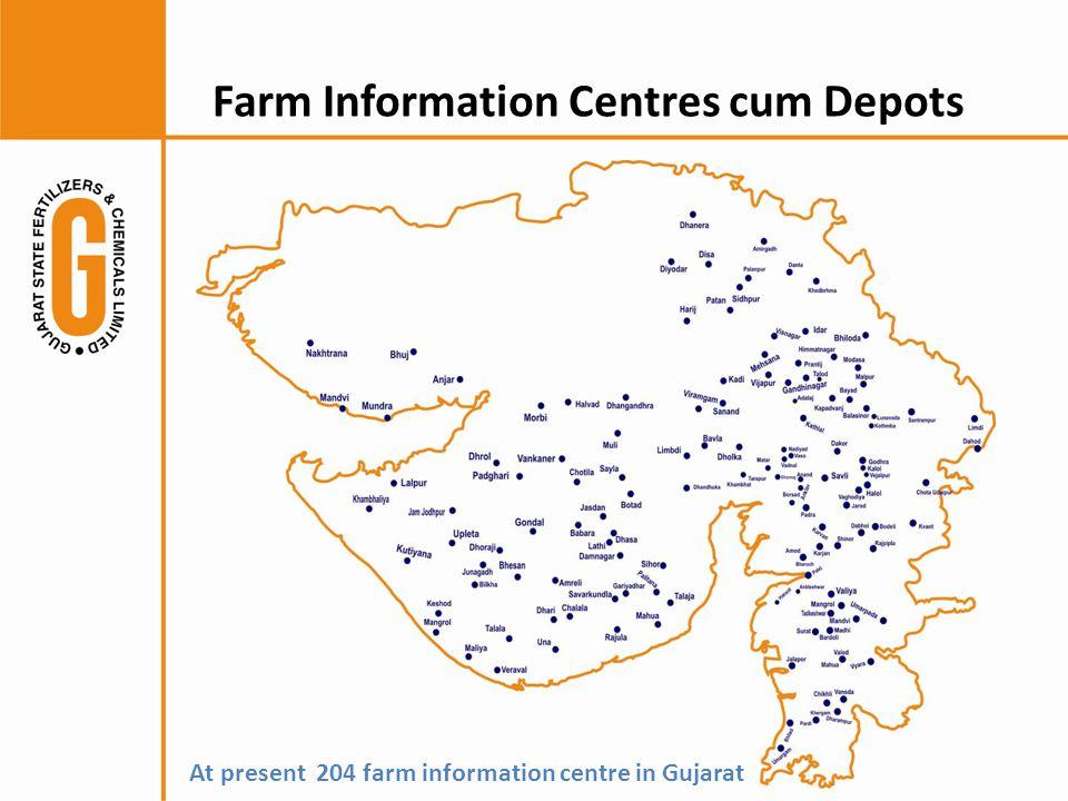 Farm Information Centres cum Depots At present 204 farm information centre in Gujarat