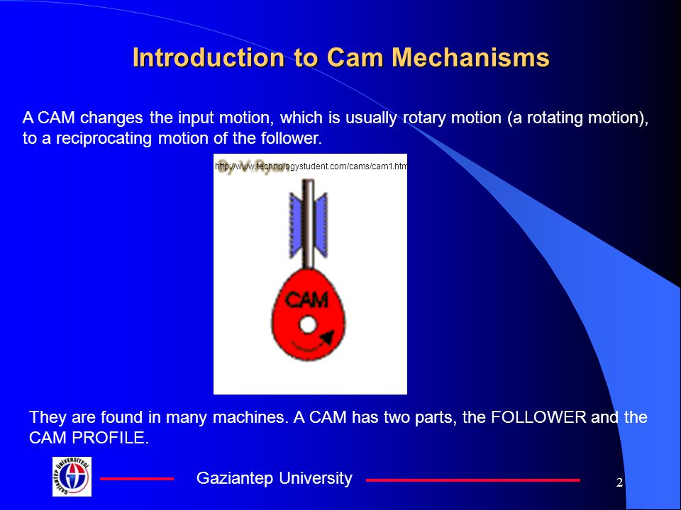 Gaziantep University 2 Introduction to Cam Mechanisms A CAM changes the input motion, which is usually rotary motion (a rotating motion), to a reciprocating motion of the follower.