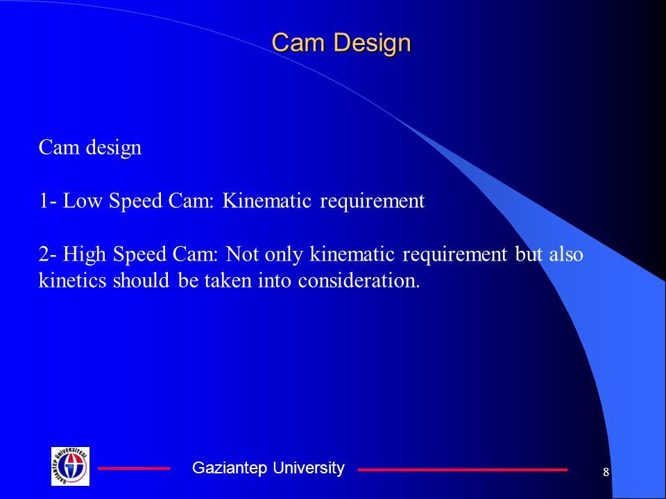 Gaziantep University 8 Cam Design Cam design 1- Low Speed Cam: Kinematic requirement 2- High Speed Cam: Not only kinematic requirement but also kineti