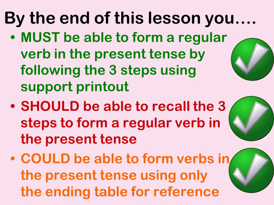 By the end of this lesson you…. MUST be able to form a regular verb in the present tense by following the 3 steps using support printout SHOULD be abl