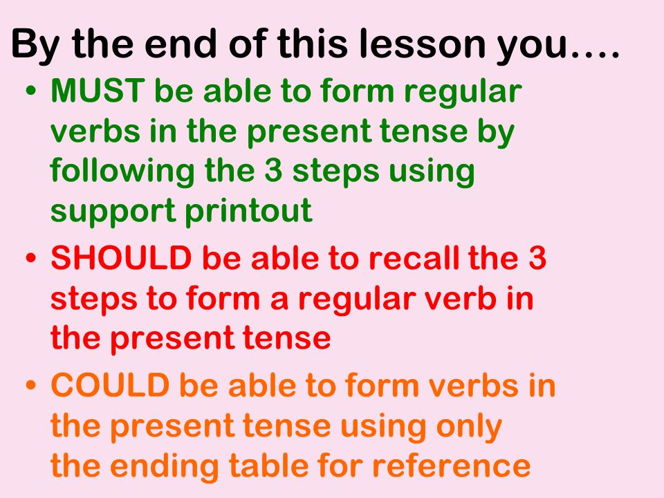 By the end of this lesson you…. MUST be able to form regular verbs in the present tense by following the 3 steps using support printout SHOULD be able