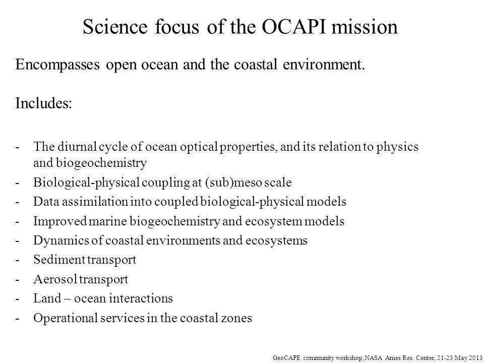 GeoCAPE community workshop, NASA Ames Res.