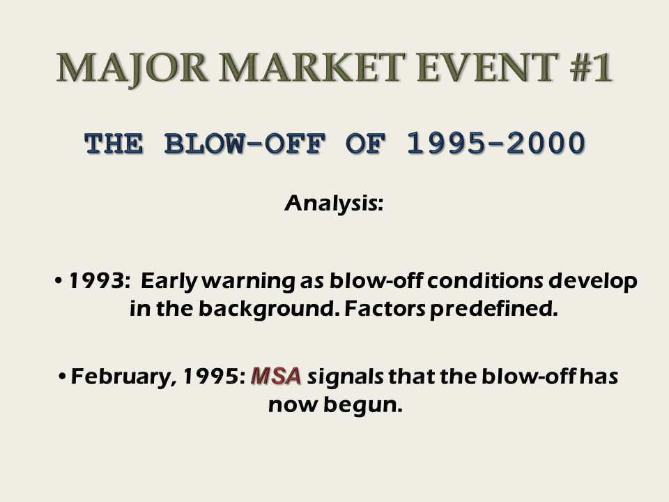 1993: Early warning as blow-off conditions develop in the background. Factors predefined.