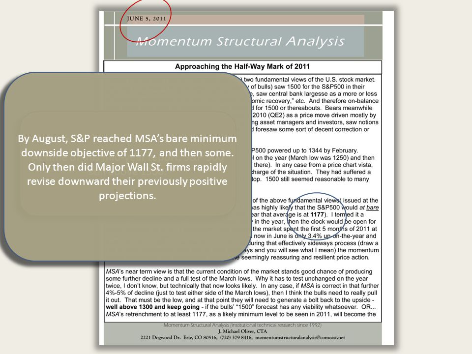 MSA's technical view…issued at the beginning of 2011, was that at some point in 2011 it was highly likely that the S&P 500 would at bare minimum trade down to its 1- year moving average. At time of this mid-year report, S&P 500 still above 1300.