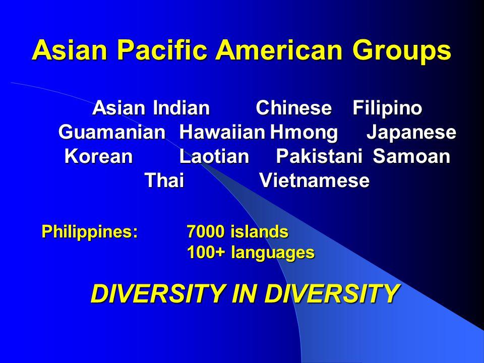 Asian Pacific American Groups Asian IndianChineseFilipino Guamanian HawaiianHmongJapanese KoreanLaotian PakistaniSamoan ThaiVietnamese Philippines:7000 islands 100+ languages DIVERSITY IN DIVERSITY