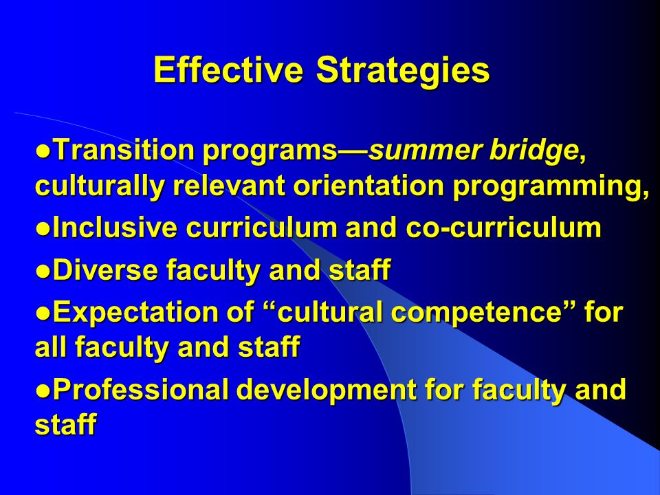 Effective Strategies Transition programs—summer bridge, culturally relevant orientation programming, Transition programs—summer bridge, culturally relevant orientation programming, Inclusive curriculum and co-curriculum Inclusive curriculum and co-curriculum Diverse faculty and staff Diverse faculty and staff Expectation of cultural competence for all faculty and staff Expectation of cultural competence for all faculty and staff Professional development for faculty and staff Professional development for faculty and staff