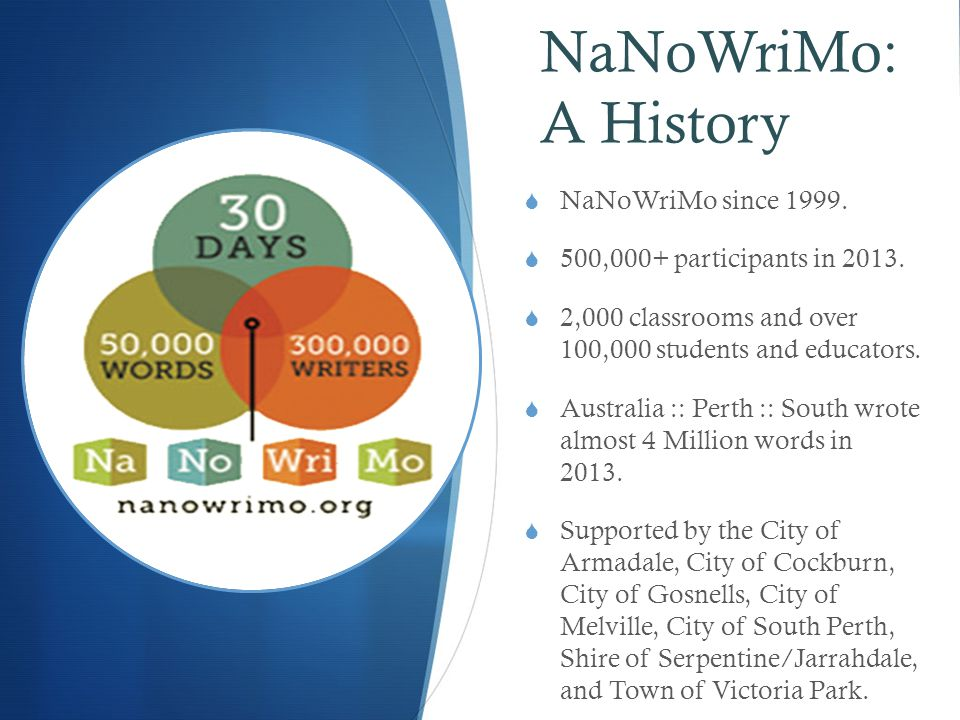 NaNoWriMo: A History  NaNoWriMo since 1999.  500,000+ participants in 2013.