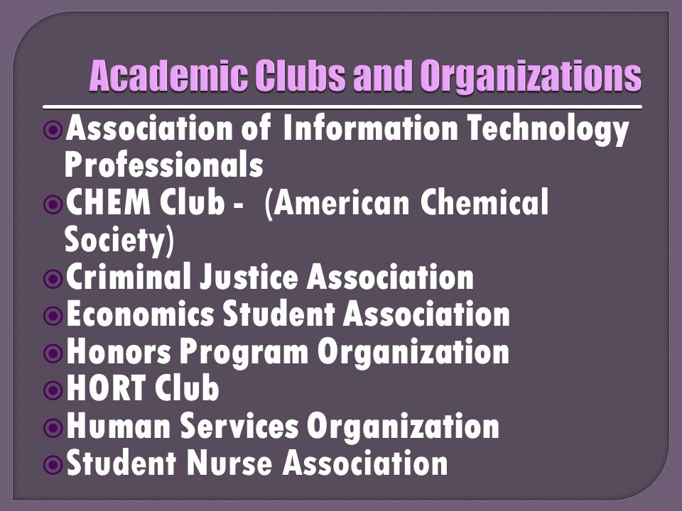  Association of Information Technology Professionals  CHEM Club - (American Chemical Society)  Criminal Justice Association  Economics Student Ass
