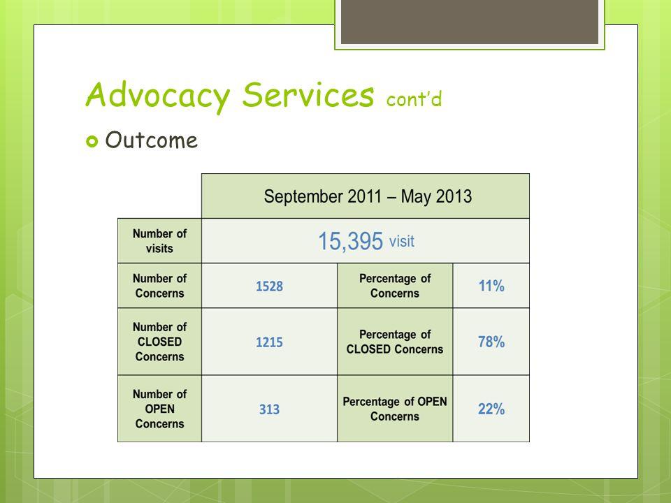 Advocacy Services cont'd  Outcome