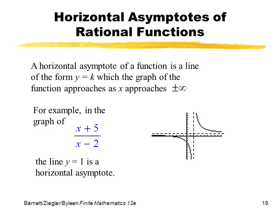 19 Barnett/Ziegler/Byleen Finite Mathematics 12e Horizontal Asymptotes of Rational Functions A horizontal asymptote of a function is a line of the form y = k which the graph of the function approaches as x approaches For example, in the graph of the line y = 1 is a horizontal asymptote.