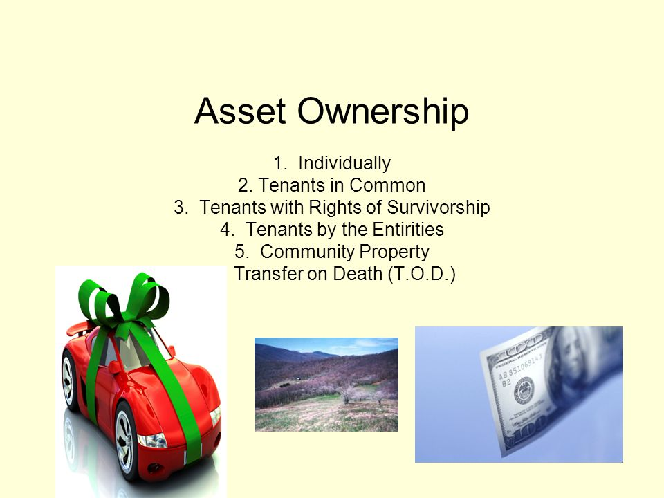 Asset Ownership 1. Individually 2. Tenants in Common 3.
