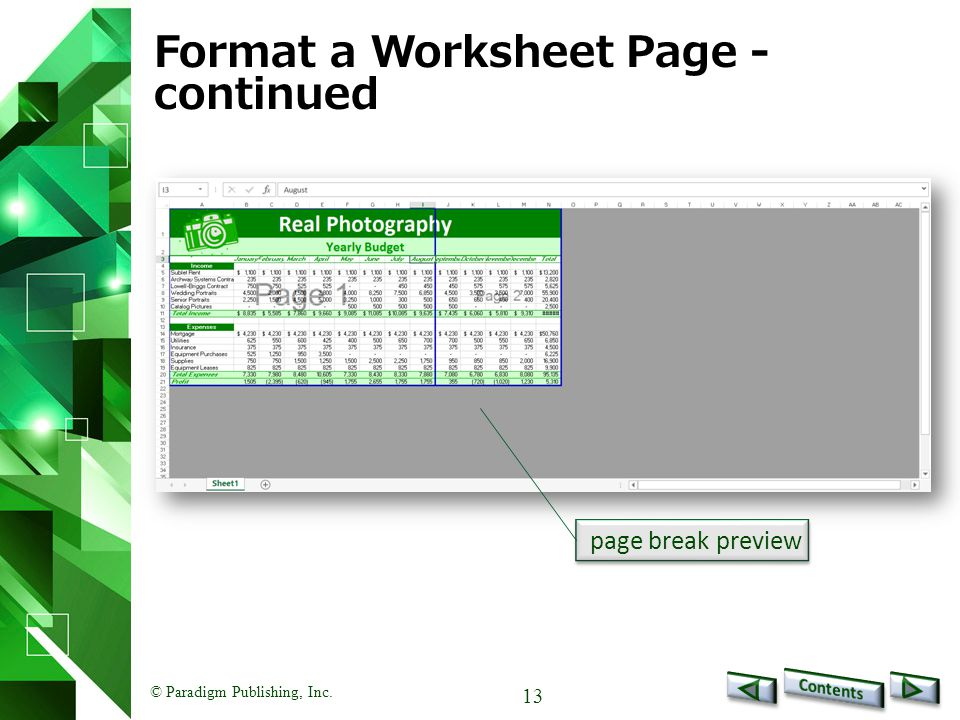 © Paradigm Publishing, Inc. 13 Format a Worksheet Page - continued page break preview