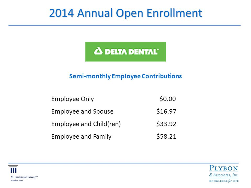 2014 Annual Open Enrollment Semi-monthly Employee Contributions Employee Only $0.00 Employee and Spouse $16.97 Employee and Child(ren) $33.92 Employee and Family $58.21
