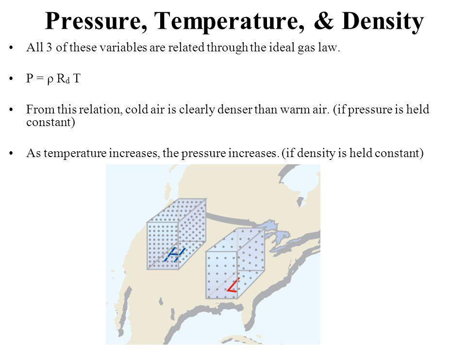 Pressure, Temperature, & Density All 3 of these variables are related through the ideal gas law. P = ρ R d T From this relation, cold air is clearly d