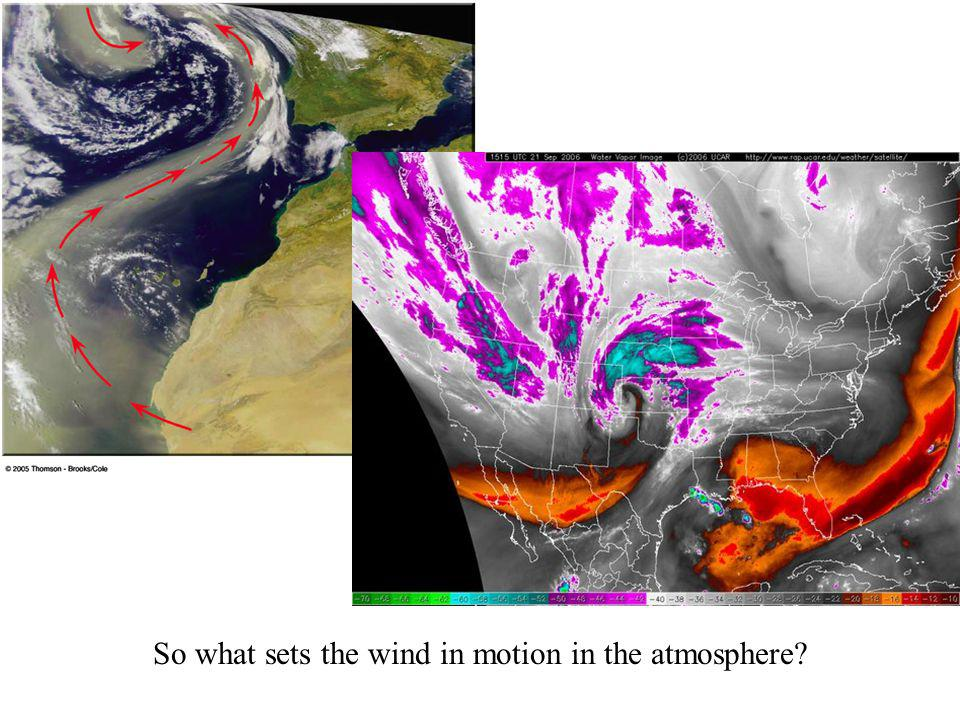 So what sets the wind in motion in the atmosphere?