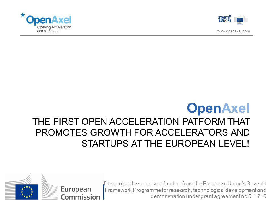 www.openaxel.com OpenAxel THE FIRST OPEN ACCELERATION PATFORM THAT PROMOTES GROWTH FOR ACCELERATORS AND STARTUPS AT THE EUROPEAN LEVEL.