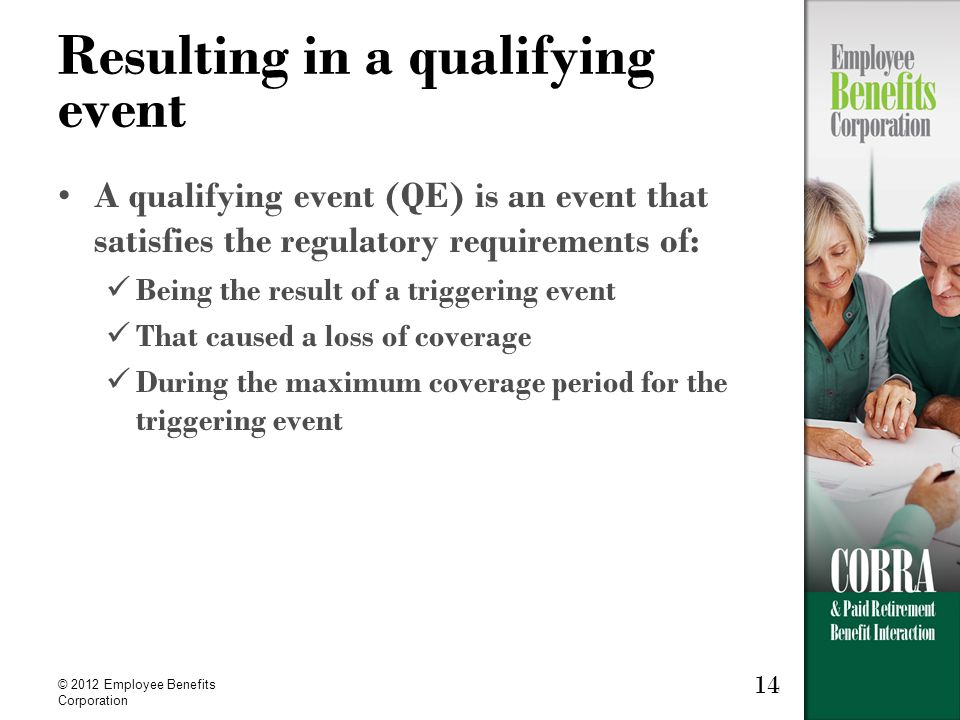 14 © 2012 Employee Benefits Corporation Resulting in a qualifying event A qualifying event (QE) is an event that satisfies the regulatory requirements of: Being the result of a triggering event That caused a loss of coverage During the maximum coverage period for the triggering event