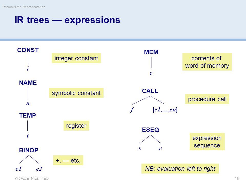 IR trees — expressions © Oscar Nierstrasz Intermediate Representation 18 CONST i NAME n TEMP t BINOP e1e2 MEM e CALL f[e1,…,en] ESEQ se integer constant symbolic constant register +, — etc.