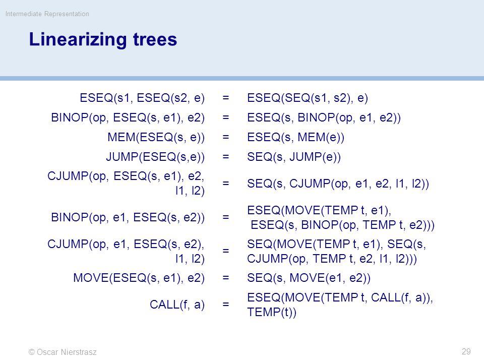 Linearizing trees ESEQ(s1, ESEQ(s2, e)=ESEQ(SEQ(s1, s2), e) BINOP(op, ESEQ(s, e1), e2)=ESEQ(s, BINOP(op, e1, e2)) MEM(ESEQ(s, e))=ESEQ(s, MEM(e)) JUMP(ESEQ(s,e))=SEQ(s, JUMP(e)) CJUMP(op, ESEQ(s, e1), e2, l1, l2) =SEQ(s, CJUMP(op, e1, e2, l1, l2)) BINOP(op, e1, ESEQ(s, e2))= ESEQ(MOVE(TEMP t, e1), ESEQ(s, BINOP(op, TEMP t, e2))) CJUMP(op, e1, ESEQ(s, e2), l1, l2) = SEQ(MOVE(TEMP t, e1), SEQ(s, CJUMP(op, TEMP t, e2, l1, l2))) MOVE(ESEQ(s, e1), e2)=SEQ(s, MOVE(e1, e2)) CALL(f, a)= ESEQ(MOVE(TEMP t, CALL(f, a)), TEMP(t)) © Oscar Nierstrasz Intermediate Representation 29