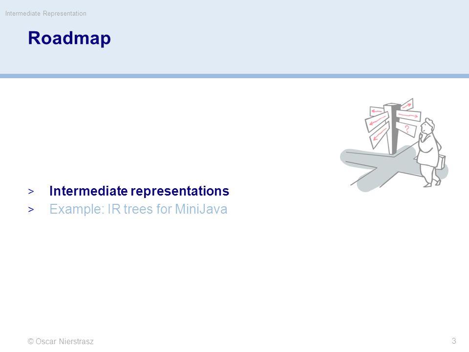 while loops © Oscar Nierstrasz Intermediate Representation 24 if not (c) jump done body: s if c jump body done: while (c) s  Nx(SEQ(SEQ(c.cvtCx(b,x), SEQ(LABEL(b), s.cvtNx())), SEQ(c,cvtCx(b,x),LABEL(x)))) for example: