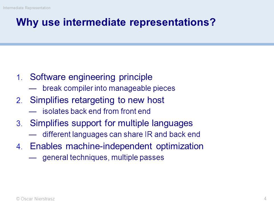 IR scheme © Oscar Nierstrasz Intermediate Representation 5 front end produces IR optimizer transforms IR to more efficient program back end transform IR to target code