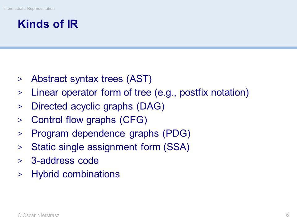 © Oscar Nierstrasz Intermediate Representation 17 Roadmap  Intermediate representations  Example: IR trees for MiniJava