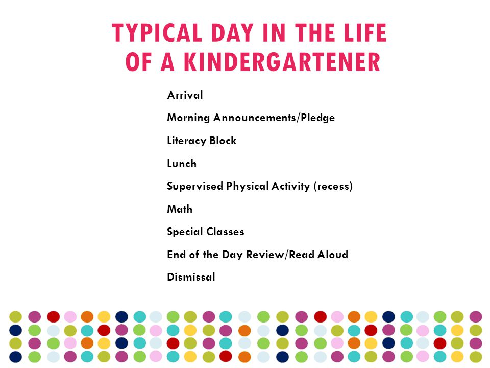 TYPICAL DAY IN THE LIFE OF A KINDERGARTENER Arrival Morning Announcements/Pledge Literacy Block Lunch Supervised Physical Activity (recess) Math Special Classes End of the Day Review/Read Aloud Dismissal