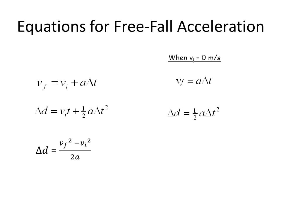 Equations for Free-Fall Acceleration When vi = 0 m/s