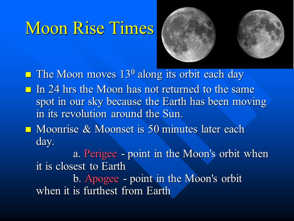 Lunar Month/Lunation Complete cycle of phases Complete cycle of phases Ex. Full moon to next full moon Ex. Full moon to next full moon Takes 29.5 days