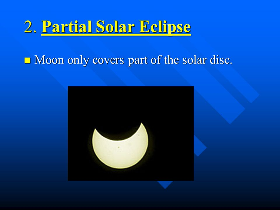 Solar Eclipse Cont' The longest solar eclipses occur when: The longest solar eclipses occur when: –Earth is at (farthest from the Sun, making the sola