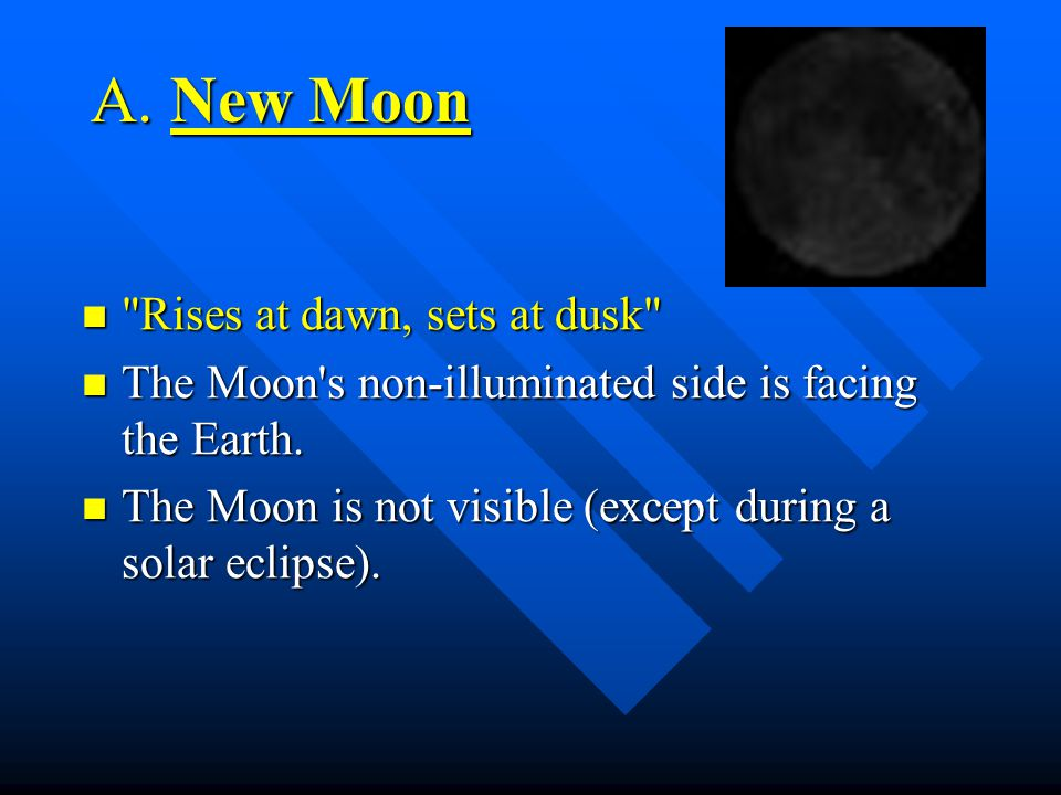 II. Moon Phases http://www.earth.uni.edu/~morgan/astro/course/java/MoonPhases/moonlocation.htm http://www.earth.uni.edu/~morgan/astro/course/java/Moon