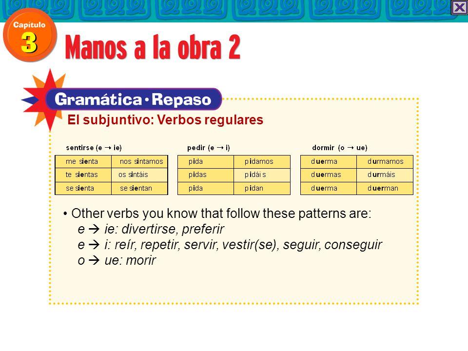 Other verbs you know that follow these patterns are: e  ie: divertirse, preferir e  i: reír, repetir, servir, vestir(se), seguir, conseguir o  ue: morir