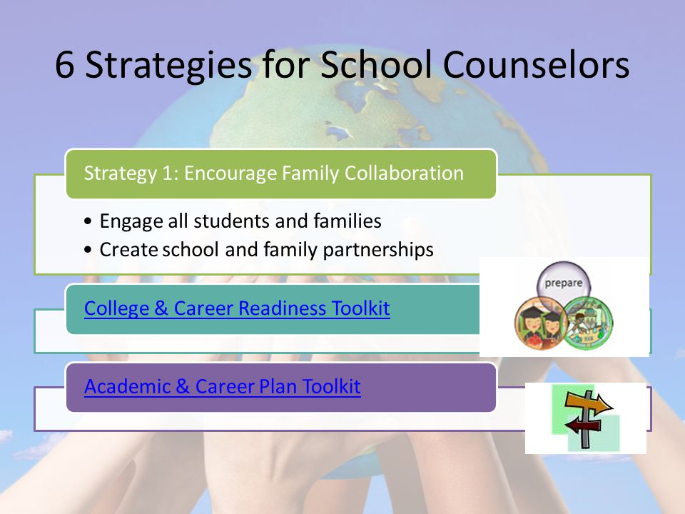 6 Strategies for School Counselors Engage all students and families Create school and family partnerships Strategy 1: Encourage Family CollaborationCollege & Career Readiness ToolkitAcademic & Career Plan Toolkit