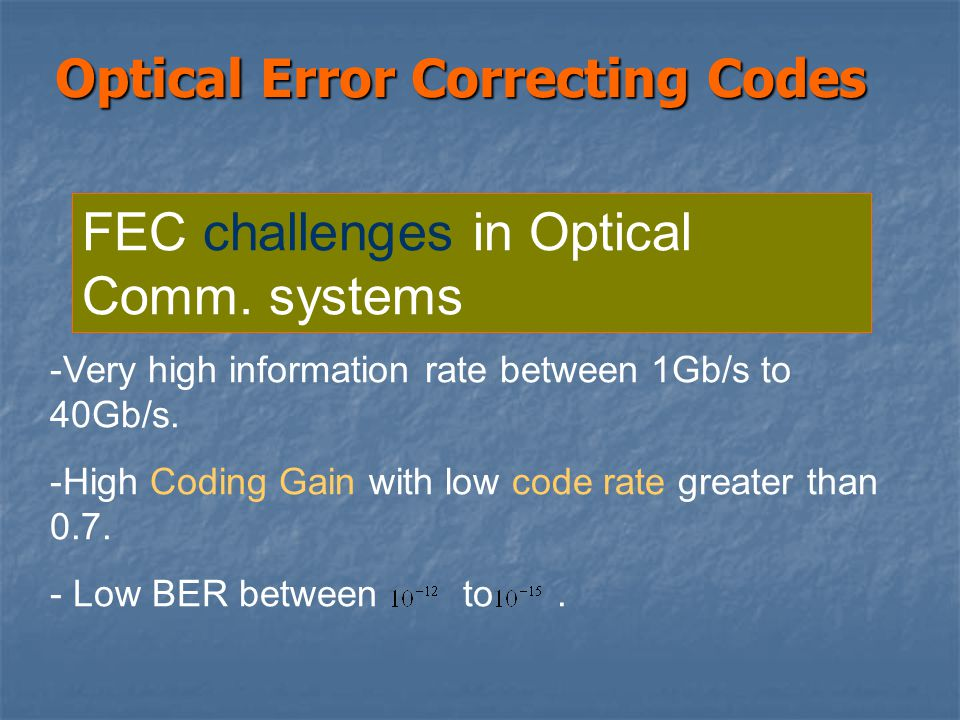 Optical Error Correcting Codes FEC challenges in Optical Comm.