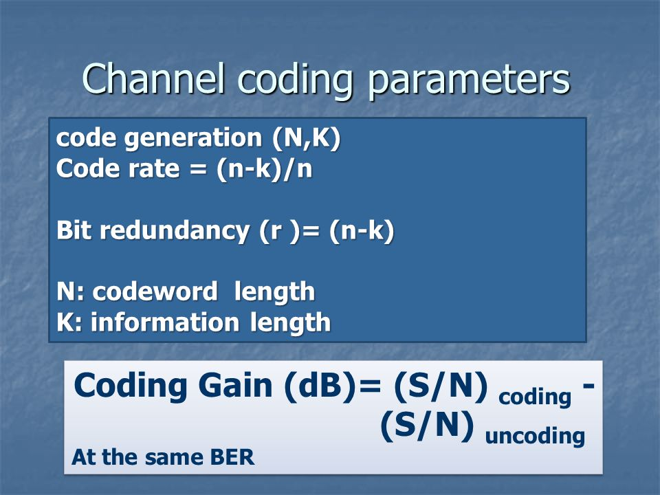 Channel coding parameters code generation (N,K) Code rate = (n-k)/n Bit redundancy (r )= (n-k) N: codeword length K: information length Coding Gain (dB)= (S/N) coding - (S/N) uncoding At the same BER Coding Gain (dB)= (S/N) coding - (S/N) uncoding At the same BER