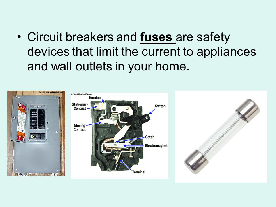 Circuit breakers and fuses are safety devices that limit the current to appliances and wall outlets in your home.