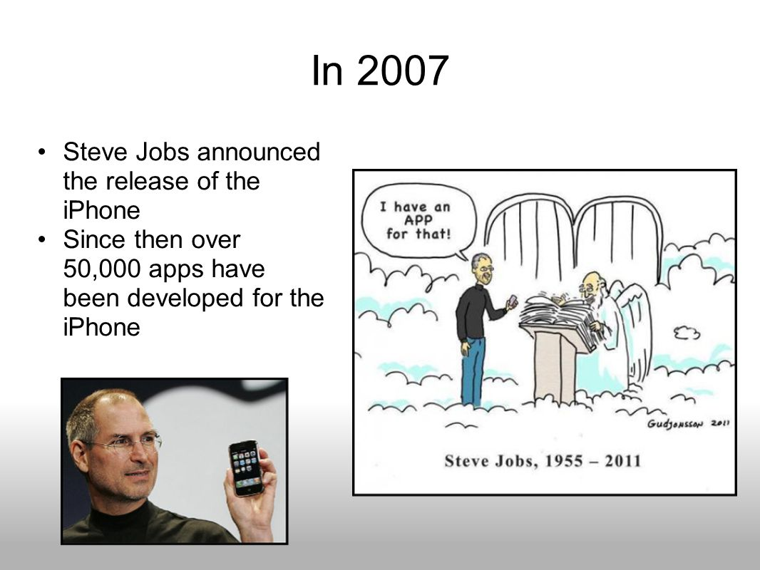 In 2007 Steve Jobs announced the release of the iPhone Since then over 50,000 apps have been developed for the iPhone