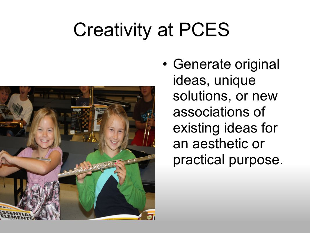 Creativity at PCES Generate original ideas, unique solutions, or new associations of existing ideas for an aesthetic or practical purpose.