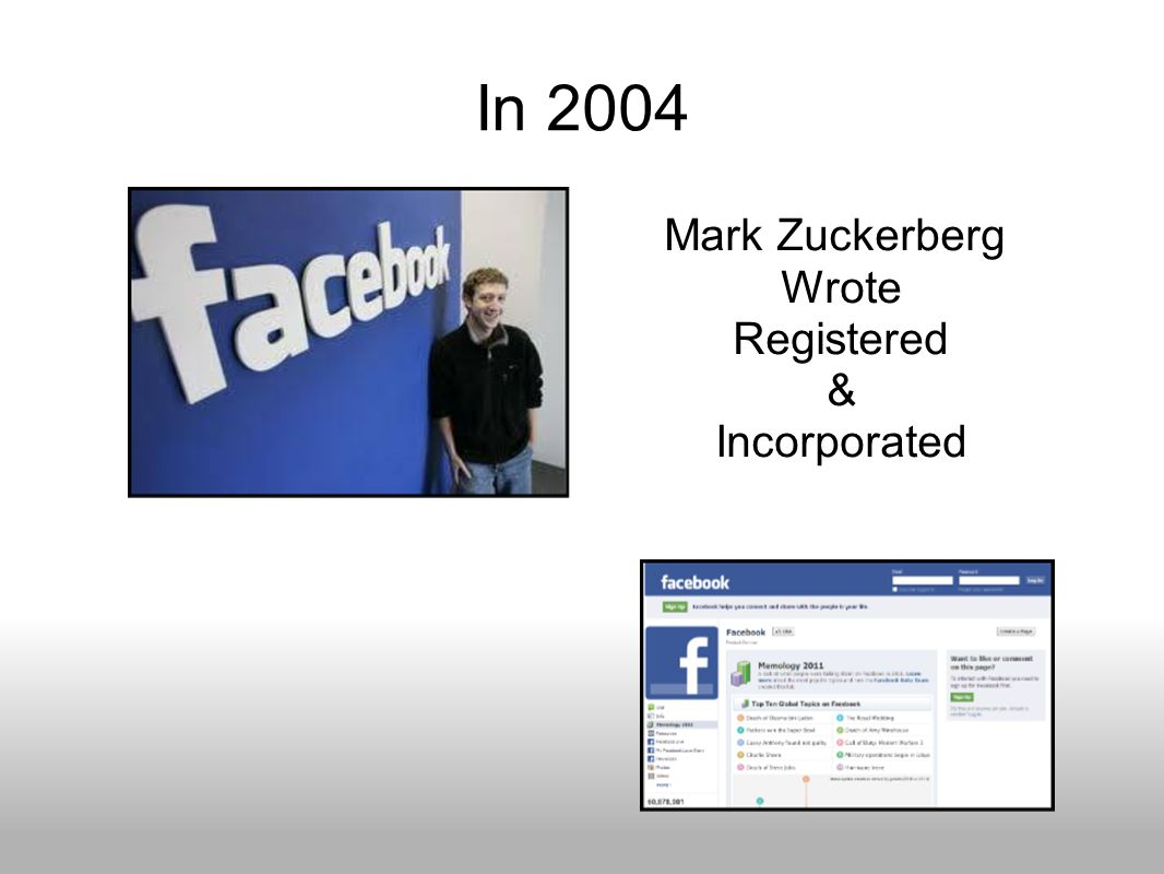 In 2004 Mark Zuckerberg Wrote Registered & Incorporated