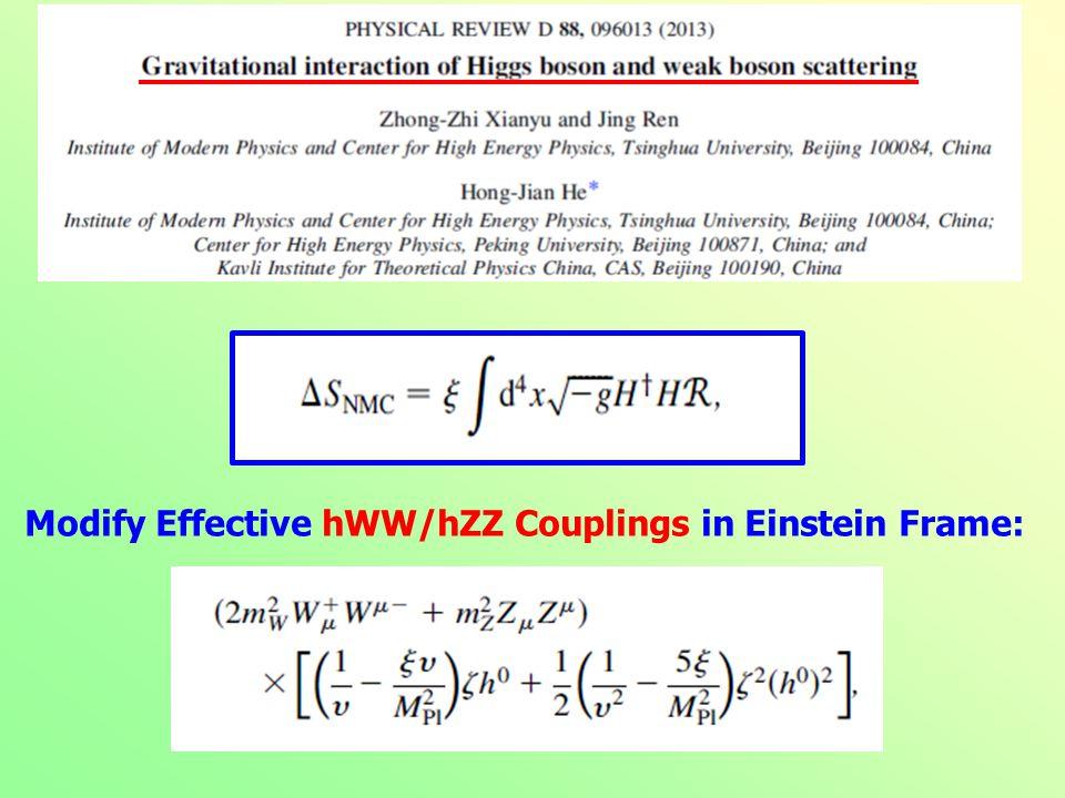 Modify Effective hWW/hZZ Couplings in Einstein Frame: