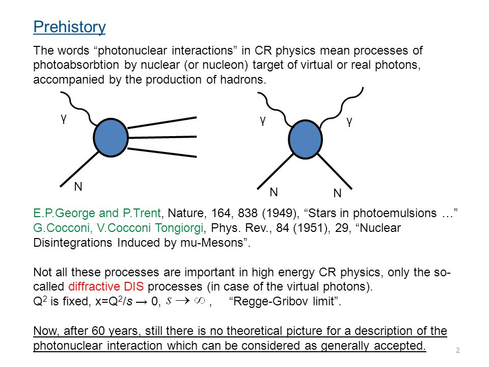 """2 Prehistory The words """"photonuclear interactions"""" in CR physics mean processes of photoabsorbtion by nuclear (or nucleon) target of virtual or real p"""