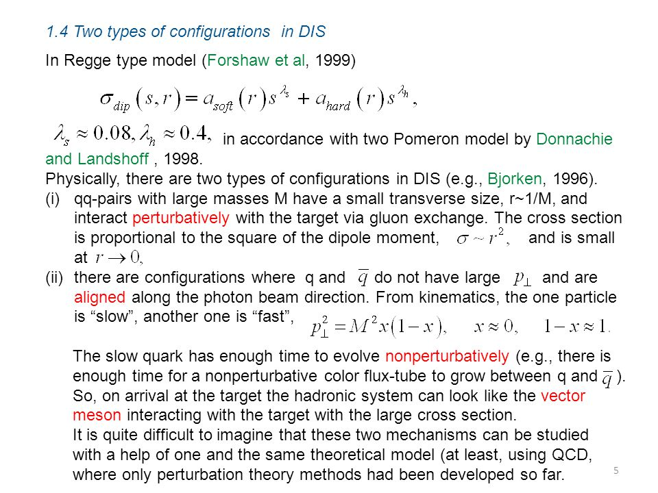 1.4 Two types of configurations in DIS In Regge type model (Forshaw et al, 1999) in accordance with two Pomeron model by Donnachie and Landshoff, 1998