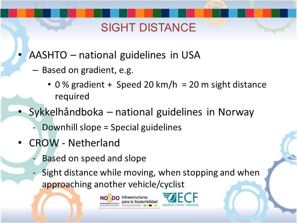 SIGHT DISTANCE AASHTO – national guidelines in USA – Based on gradient, e.g.