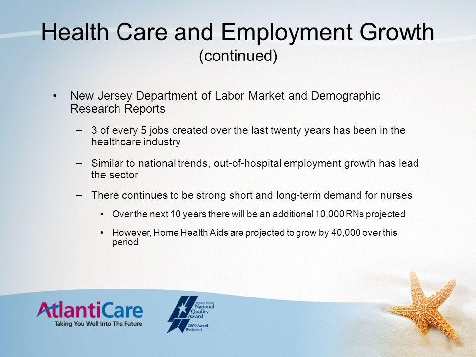 Health Care and Employment Growth (continued) New Jersey Department of Labor Market and Demographic Research Reports –3 of every 5 jobs created over the last twenty years has been in the healthcare industry –Similar to national trends, out-of-hospital employment growth has lead the sector –There continues to be strong short and long-term demand for nurses Over the next 10 years there will be an additional 10,000 RNs projected However, Home Health Aids are projected to grow by 40,000 over this period