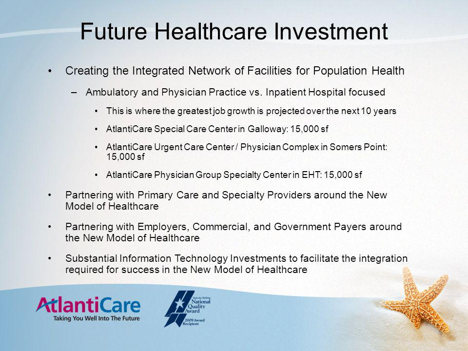 Future Healthcare Investment Creating the Integrated Network of Facilities for Population Health –Ambulatory and Physician Practice vs.