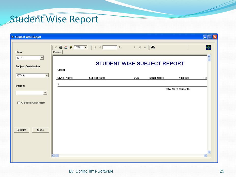 Student Wise Report 25By: Spring Time Software