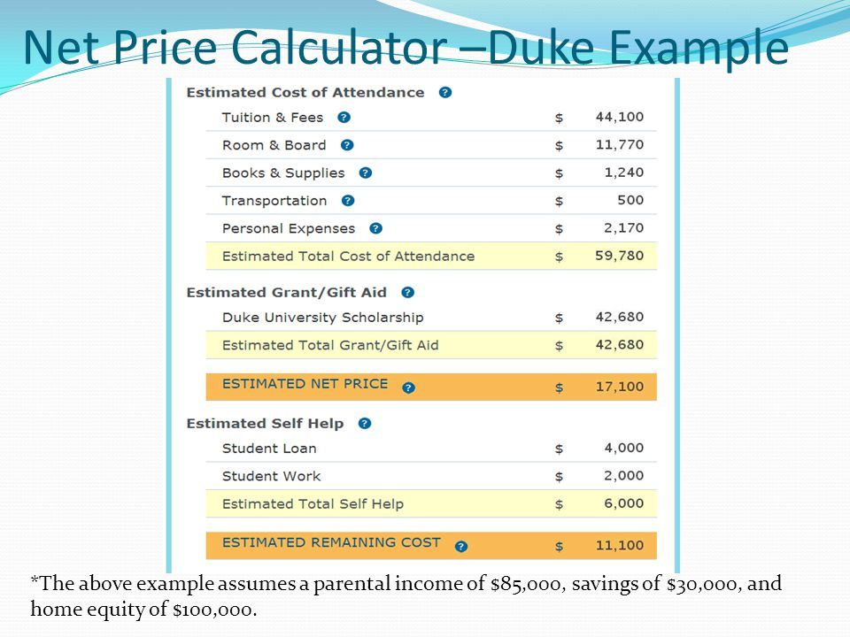Net Price Calculator –Duke Example *The above example assumes a parental income of $85,000, savings of $30,000, and home equity of $100,000.