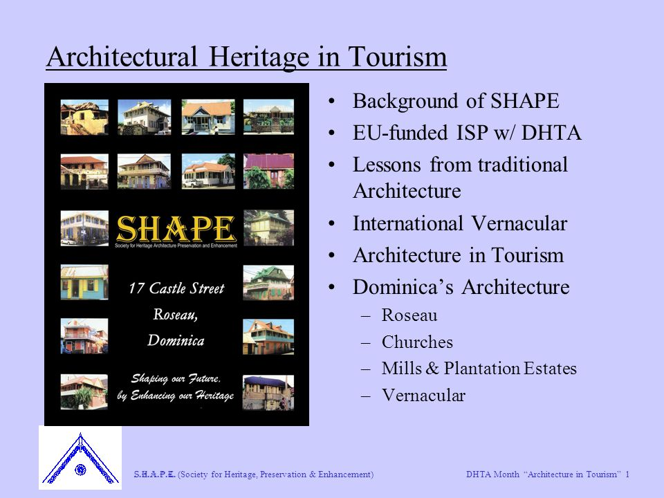 "DHTA Month ""Architecture in Tourism"" 1 S.H.A.P.E. (Society for Heritage, Preservation & Enhancement) Architectural Heritage in Tourism Background of S"