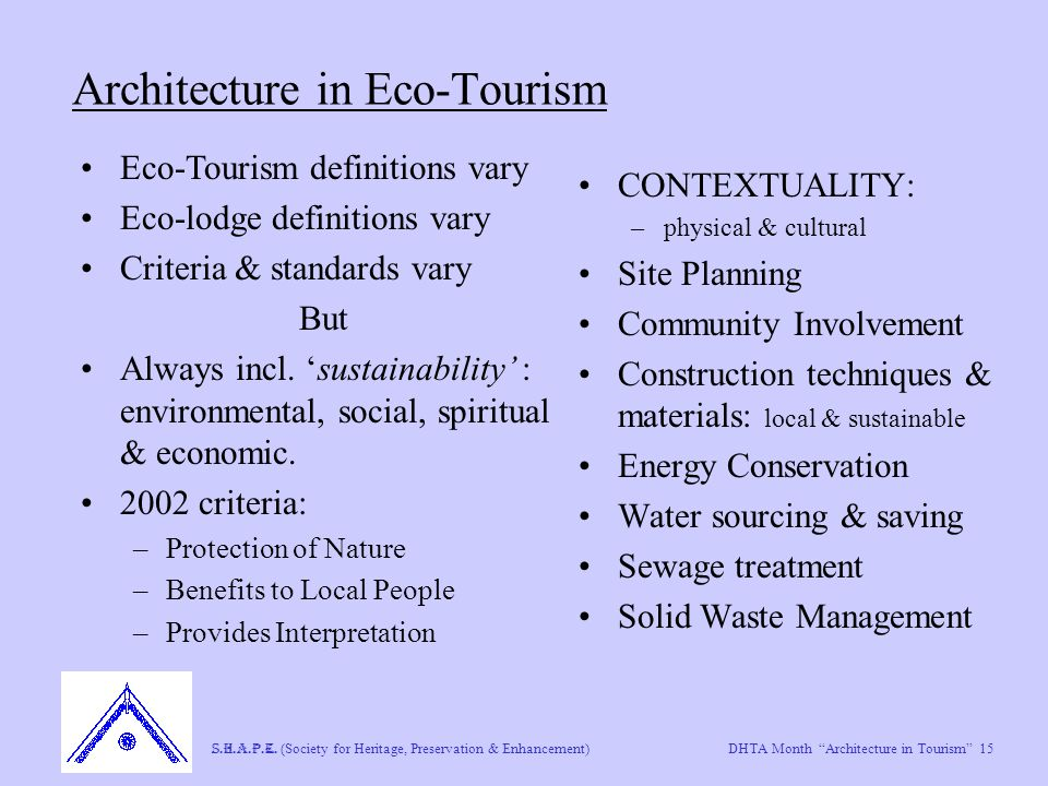 "DHTA Month ""Architecture in Tourism"" 15 S.H.A.P.E. (Society for Heritage, Preservation & Enhancement) Architecture in Eco-Tourism CONTEXTUALITY: –phys"