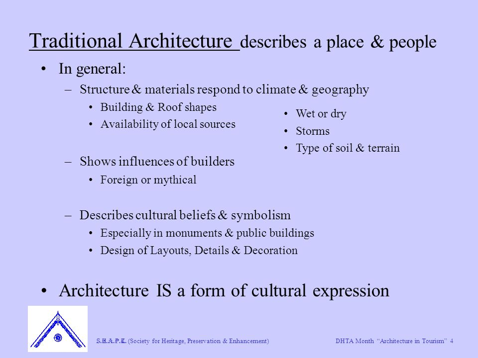 "DHTA Month ""Architecture in Tourism"" 4 S.H.A.P.E. (Society for Heritage, Preservation & Enhancement) Traditional Architecture describes a place & peop"